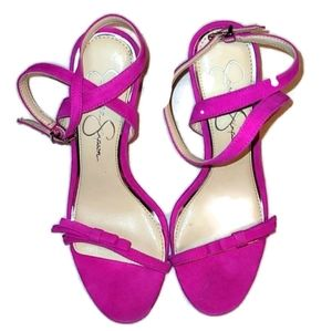 Jessica Simpson heels shoes strappy hot pink 6M